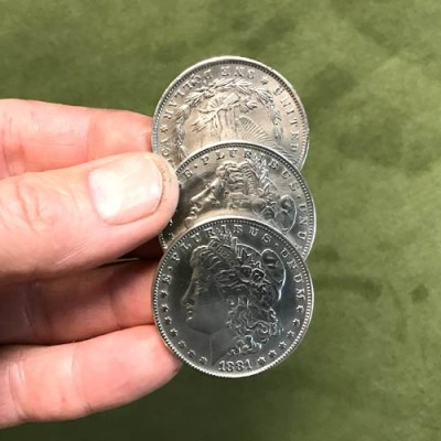 Three Welded Steel Morgan Dollar Replica Coins by PropDog