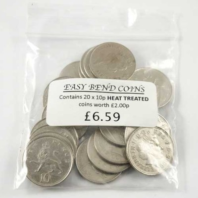 Bag of 20 Easy Bend 10 Pence Coins - by PropDog