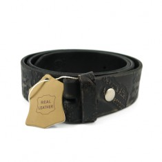 Pattern Embossed Leather Belt - Black