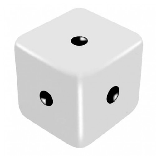 16mm White One Way Force Dice - Force Number 1 by PropDog