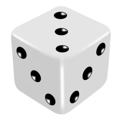 16mm White One Way Force Dice - Force Number 3 by PropDog