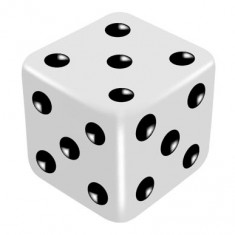 16mm White One Way Force Dice - Force Number 5 by PropDog