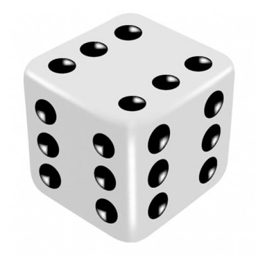 16mm White One Way Force Dice - Force Number 6 by PropDog