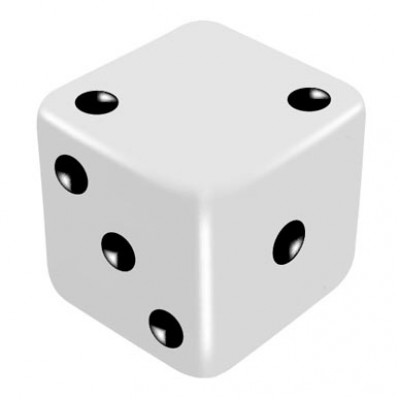 16mm White Low Thrower Dice by PropDog