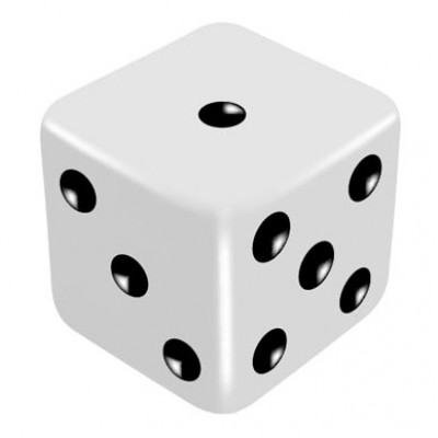 16mm White Odd Thrower Dice by PropDog