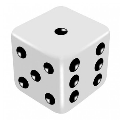 16mm White Three Way Force Dice - Force Number 1,5,6 by PropDog