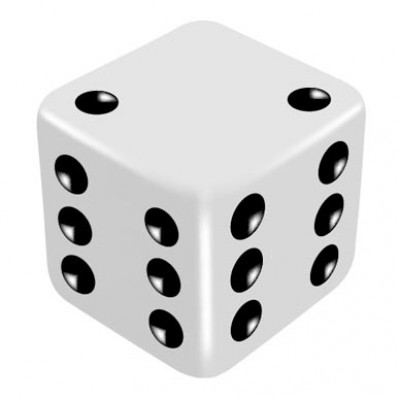 16mm White Two Way Force Dice - Force Number 2 or 6 by PropDog