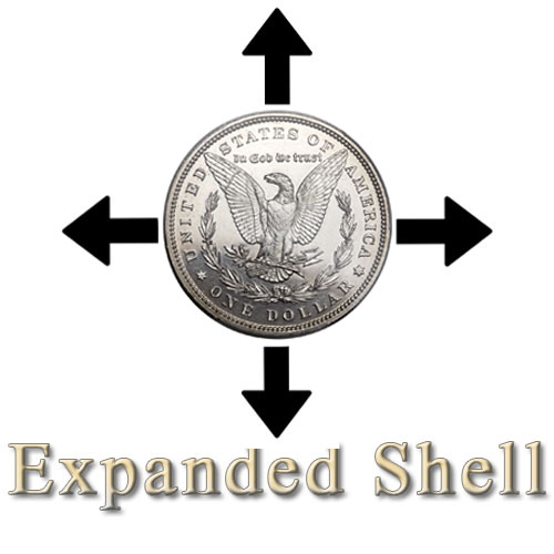 Steel Morgan Dollar (Tail) Expanded Shell and Coin