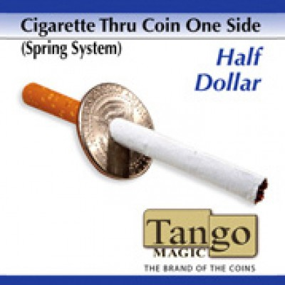 Cigarette Through Coin -  Half Dollar (One Sided) - Tango