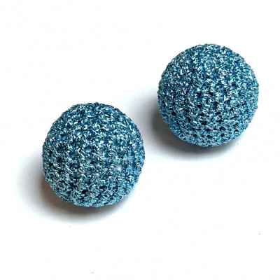 30mm Metalic Blue Crochet Ball by Five of Hearts Magic - Set of 2