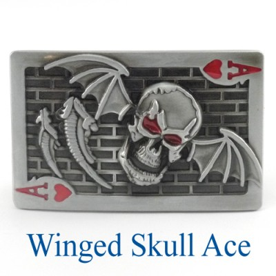 Winged Skull Ace Belt Buckle