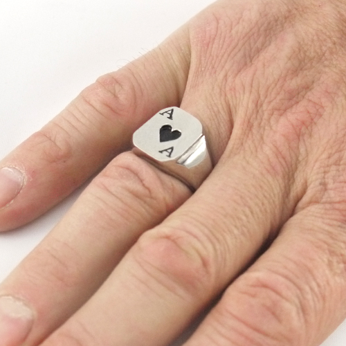 Black Ace of Hearts Ring