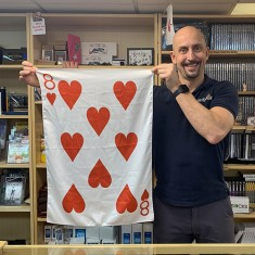"Giant 28"" x 20"" 8 of Hearts Playing Card Silk by PropDog"