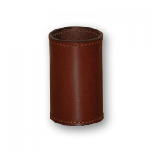Leather Coin Cylinder - Half Dollar Size - Brown